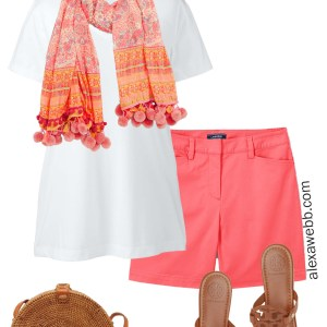 96736881b9c7c Plus Size Coral Shorts Outfit - Summer outfit idea - alexawebb.com  plussize