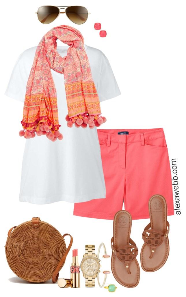 Plus Size Coral Shorts Outfit - Summer outfit idea - alexawebb.com #plussize #alexawebb