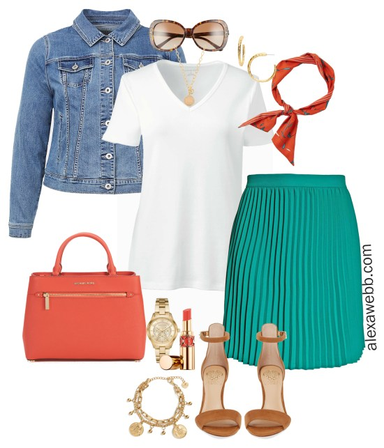 Plus Size Green Pleated Skirt Outfit - Plus Size Spring Outfit Idea - Pleated Skirt, Denim Jacket, T-Shirt, Orange Skinny Scarf - Plus Size Fashion for Women - alexawebb.com #plussize #alexawebb
