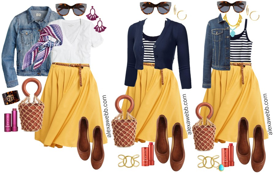 Plus Size Midi Skirt Outfits - Spring Mustard Skirt - Plus Size Fashion for Women - alexawebb.com #plussize #alexawebb