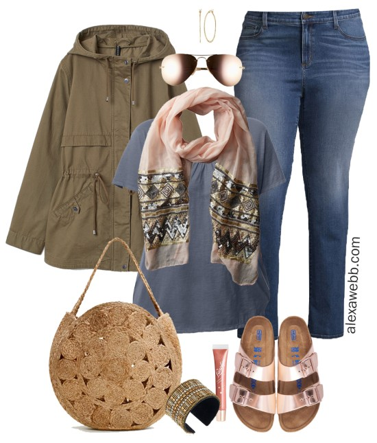 Plus Size Spring Casual Outfit - Sequin Scarf, Straw Bag, Rose Gold Sandals, Jeans - Plus Size Fashion for Women - Alexa Webb - alexawebb.com #plussize #alexawebb