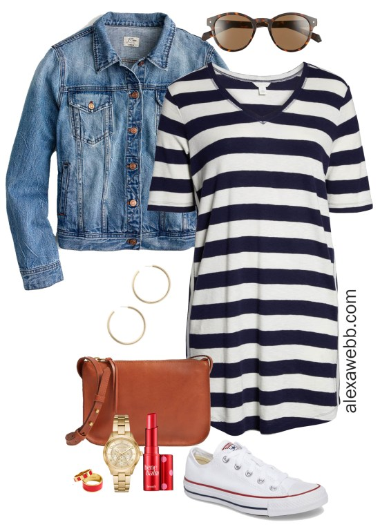 Plus Size Striped Dress Outfit Ideas - Navy and White Striped Casual Dress, Crossbody Bag, Sneakers - Plus Size Fashion for Women - alexawebb.com #plussize #alexawebb