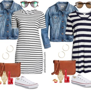 Plus Size Striped Dress Outfit Ideas - Striped Casual Dress, Crossbody Bag, Sneakers - Plus Size Fashion for Women - alexawebb.com #plussize #alexawebb