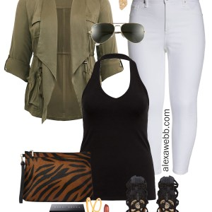 Plus Size White Jeans Outfit - Plus Size Lightweight Anorak, white skinny jeans, black halter top, sandals, zebra clutch - Plus Size Fashion for Women - alexawebb.com #plussize #alexawebb
