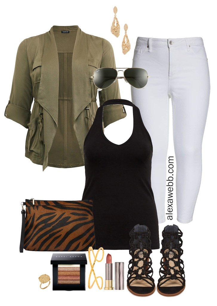 Plus Size White Jeans Outfit - Plus Size Lightweight Anorak, white skinny jeans, black halter top, sandals, zebra clutch - Plus Size Fashion for Women - alexawebb.com #plussize #alexawebb