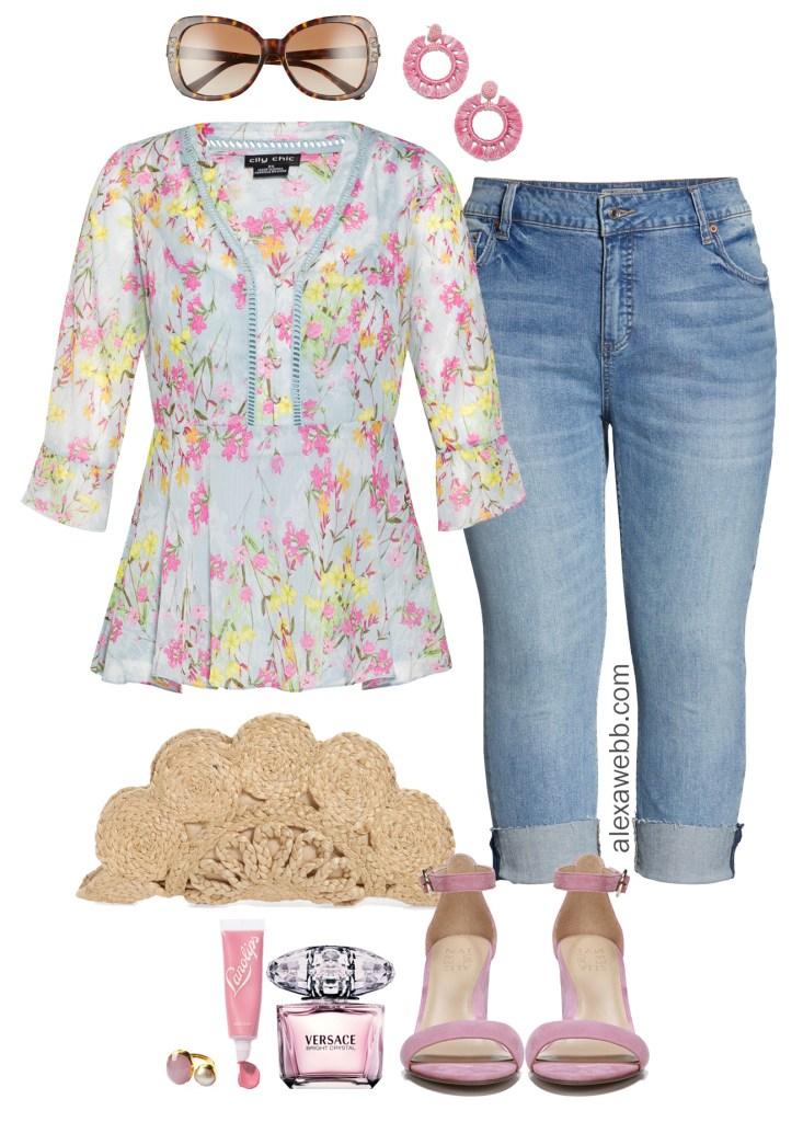 Plus Size Floral Top Outfit - Plus Size Spring Summer Outfit Idea - alexawebb.com #plussize #alexawebb