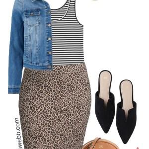 Plus Size on a Budget Outfit Idea - Leopard Skirt, Mules, Denim Jacket - Plus Size Fashion for Women - alexawebb.com #plussize #alexawebb