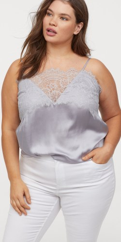 Plus Size Lace Satin Cami - Plus Size Fashion for Women - alexawebb.com #plussize #alexawebb