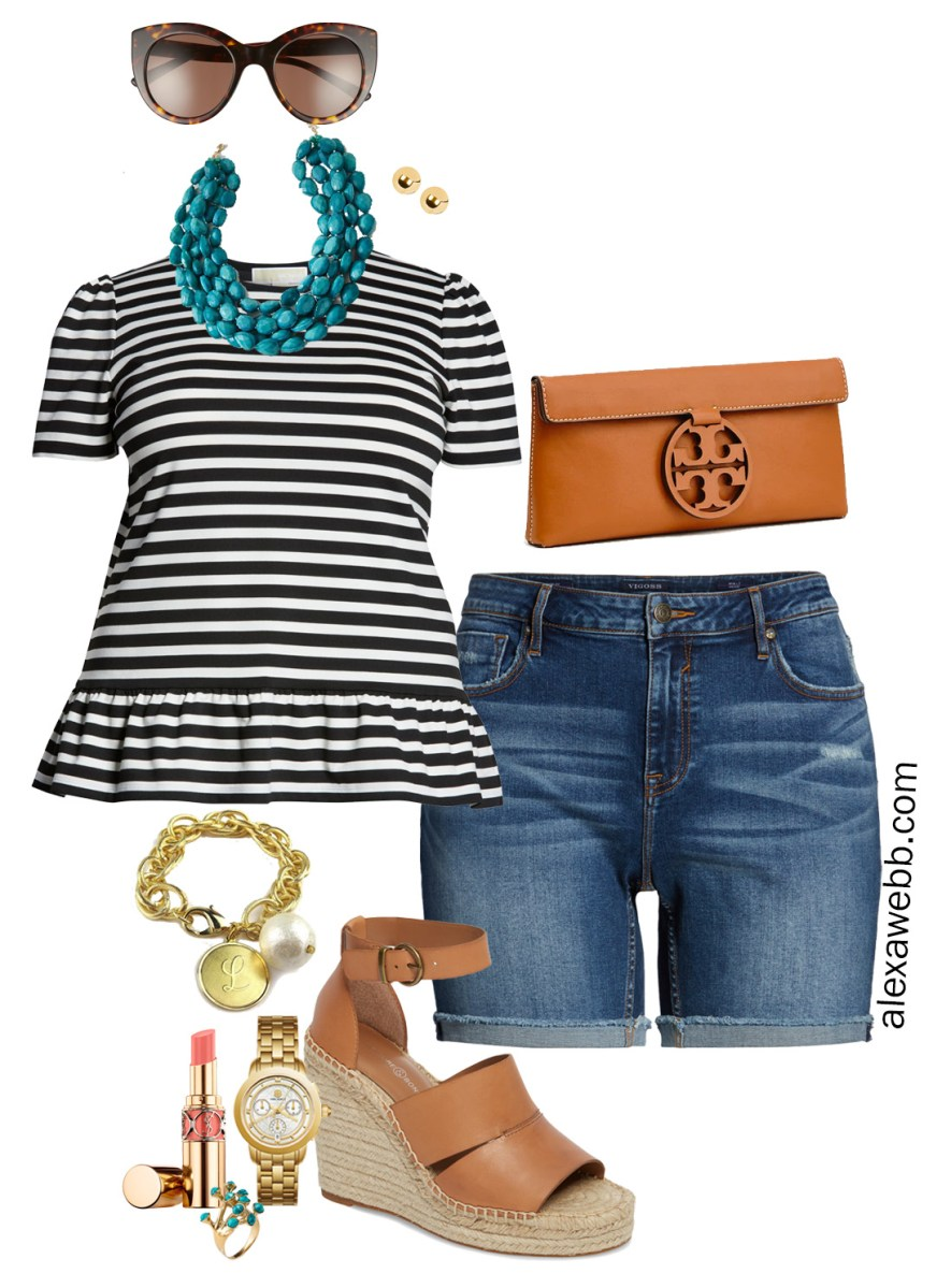 Plus Size Stripes and Shorts Outfit