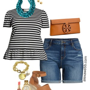 Plus Size Stripes and Shorts Outfit - Plus Size Summer Casual Outfit Idea - alexawebb.com #plussize #alexawebb