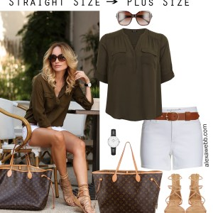 Straight Size to Plus Size – White Shorts - Plus Size Summer Casual Outfit - alexawebb.com #plussize #alexawebb