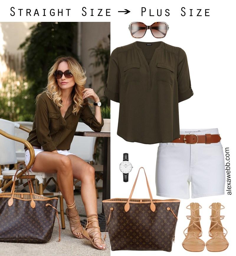 Straight Size to Plus Size – White Shorts - Plus Size Summer Casual Outfit - alexawebb.com #plussize #alexawebb