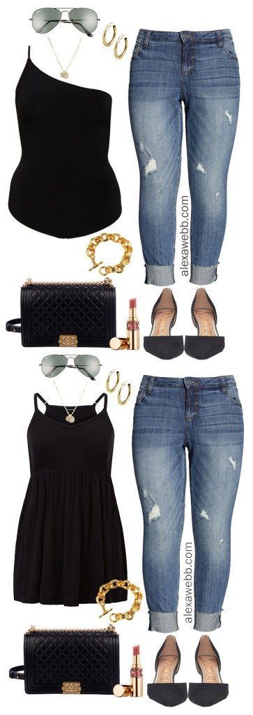 Plus Size Chic Casual Summer Outfit - Plus Size Bodysuit, Jeans, Heels, Chanel Bag - Night Out Outfit - alexawebb.com #plussize #alexawebb