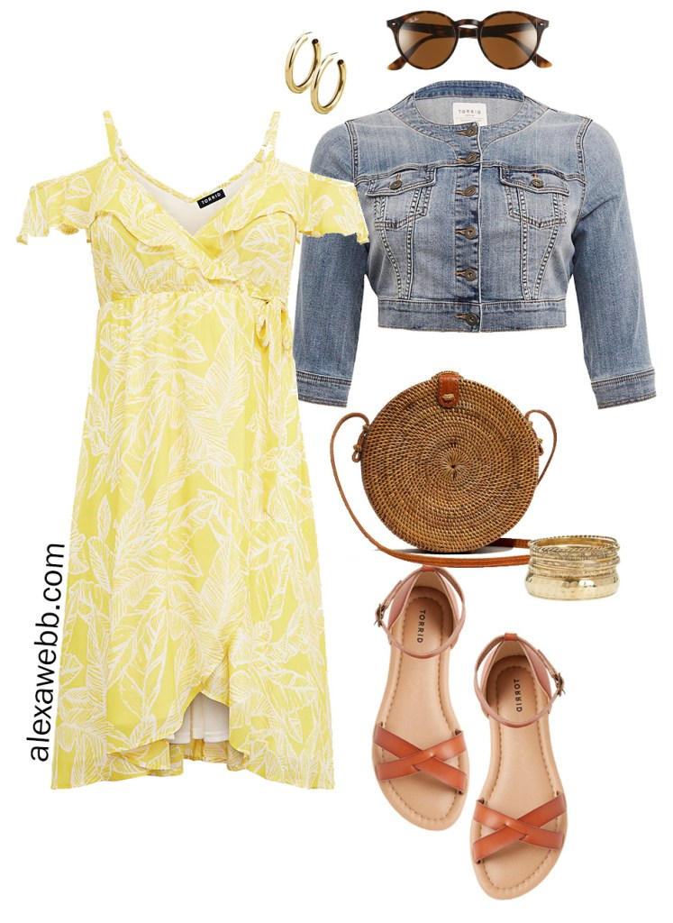 Plus Size Summer Dress Casual Outfit - Plus Size Weekend Wedding Packing List - Plus Size Yellow Palm Summer Dress - Plus Size Wedding Guest Outfit - alexawebb.com #Plussize #alexawebb