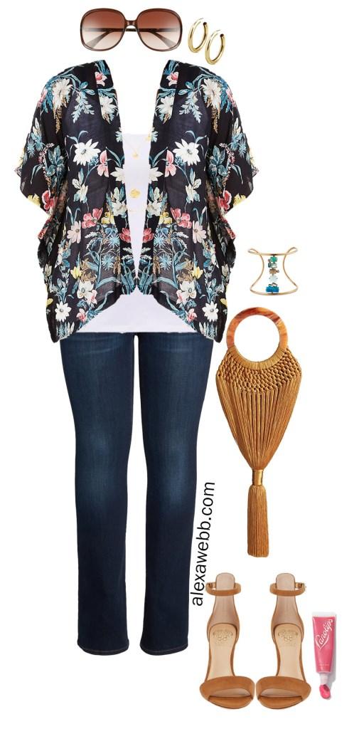 Plus Size Kimono Outfit Ideas - Day to Night Out - Dark Jeans, Heeled Sandals, Clutch - alexawebb.com #plussize #alexawebb