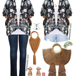 Plus Size Kimono Outfit Ideas - Summer Jeans and Denim Shorts, Sandals, Kimono - alexawebb.com #Plussize #Alexawebb
