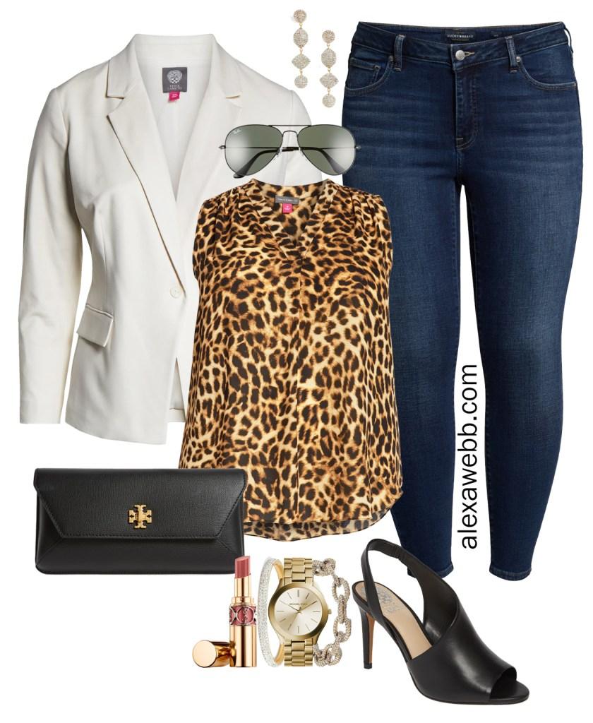 Plus Size Leopard Print Top for Night Out - Plus Size White Blazer, Leopard Top, Skinny Jeans, Heels, and Clutch - alexawebb.com #plussize #alexawebb