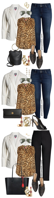 Plus Size Leopard Print Top 3 Ways - Plus Size White Blazer, Leopard Top, Skinny Jeans - alexawebb.com #plussize #alexawebb