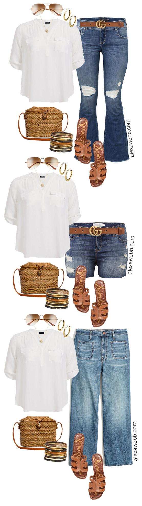 Plus Size Summer Jeans Outfit Ideas- Denim Kick Flares, Shorts, and Cropped Wide Leg Jeans - Plus Size Fashion for Women - alexawebb.com #plussize #alexawebb