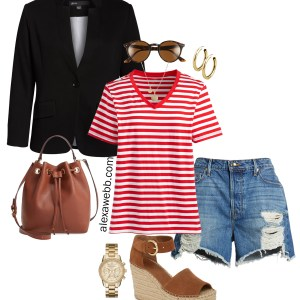 Plus Size Blazer and Shorts Summer Outfit Idea - Plus Size Striped T-Shirt, Denim Cut-Off Shorts, Sandals - Plus Size Fashion for Women - alexawebb.com #plussize #alexawebb
