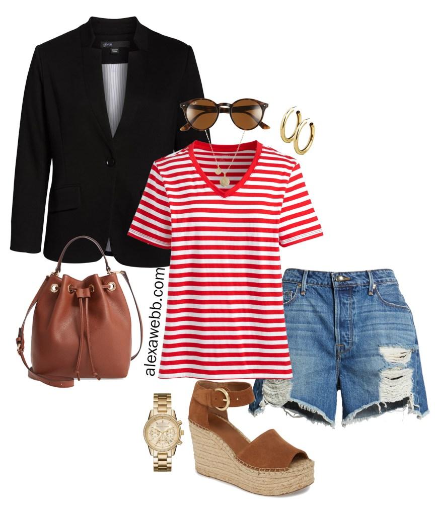 Plus Size Blazer and Shorts Summer Outfit Idea - Plus Size Striped T-Shirt, Denim Cut-Off Shorts, Sandals - Plus Size Fashion for Women - alexawebb.com #plussize #alexawebb