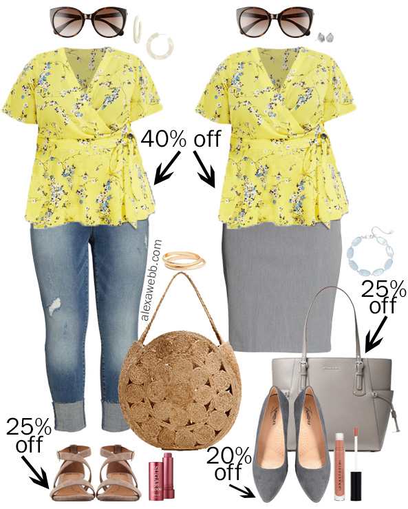Plus Size Spring Sales - Wrap Top Outfits - Plus Size Fashion for Women - alexawebb.com #plussize #alexawebb