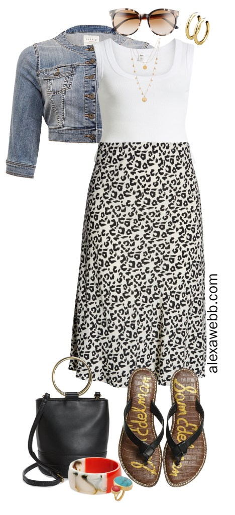 Plus Size Leopard Midi Skirt Casual Summer Outfit - Plus Size Fashion for Women - alexawebb.com #plussize #alexawebb