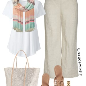 Plus Size Linen Pants Outfit - Scarf, T-Shirt, Sequin Tote, Flip Flops, Aviator Sunglasses - Plus Size Summer Outfit - alexawebb.com #plussize #alexawebb Alexa Webb