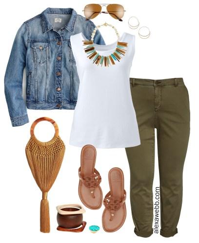 Plus Size Chino Pants Outfit - Plus Size Green Olive Chinos, Tank Top, Denim Jacket, Sandals - alexawebb.com #plussize #alexawebb