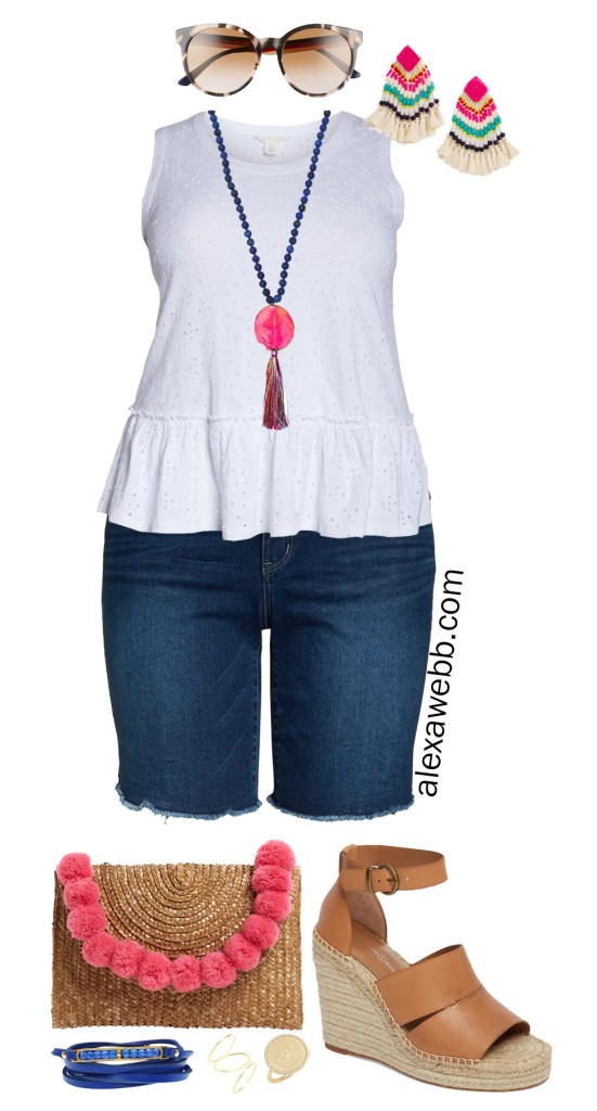 Plus Size Eyelet Peplum Top Outfits - Plus Size White Tank Top, Denim Shorts, Straw Clutch, Espadrille Sandals - Summer Outfits - Alexa Webb - alexawebb.com #Plussize #alexawebb