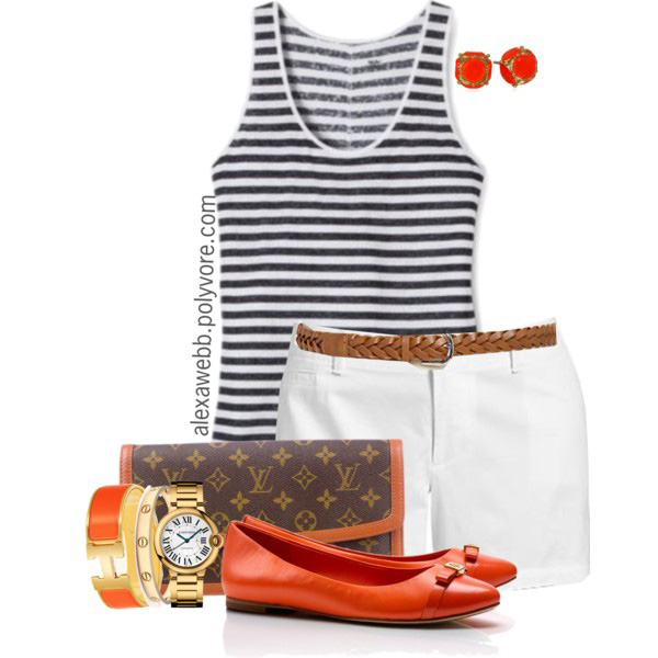 Plus Size White Shorts Casual Outfit - Striped Tank Top, White Shorts, Belt, Clutch, Orange Flats - Plus Size Preppy Outfit Idea - alexawebb.com #plussize #alexawebb Alexa Webb