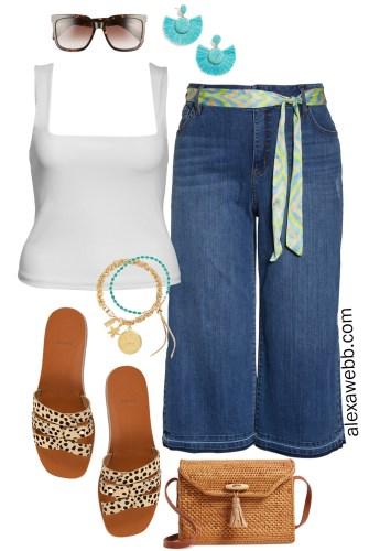 Plus Size Wide Leg Crop Jeans with Tank and Leopard Sandals - Plus Size Fashion for Women - alexawebb.com #plussize #alexawebb