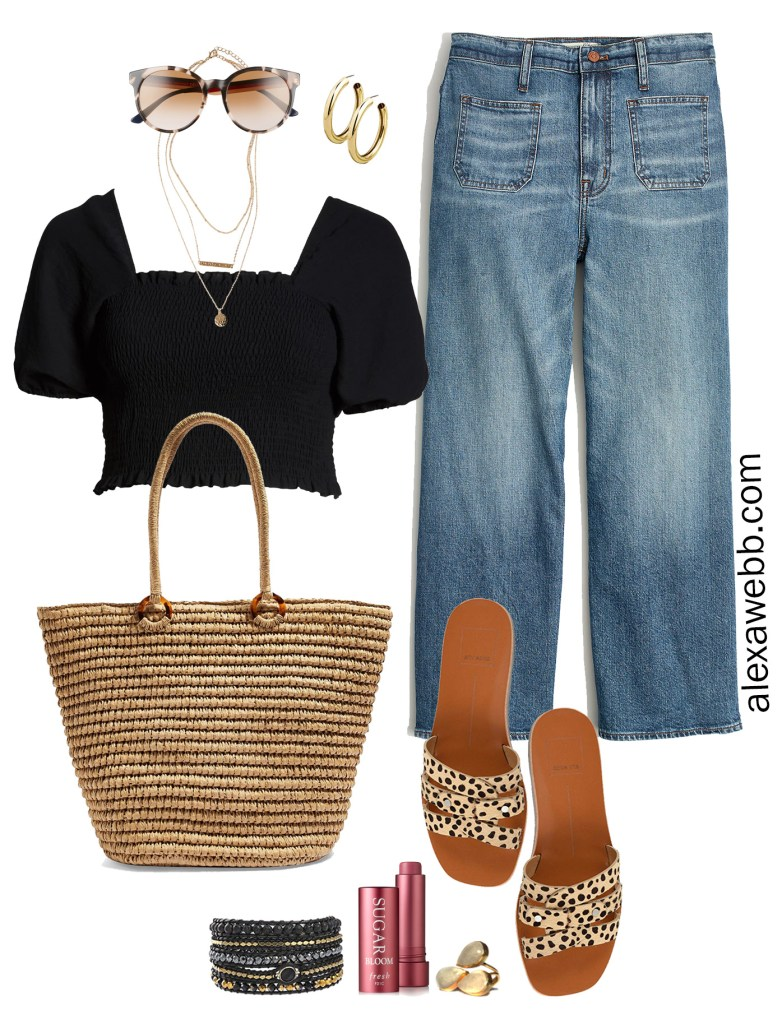 Plus Size Wide Leg Cropped Jeans with a black crop top, leopard sandals, straw tote - Plus Size Summer Outfit Idea - alexawebb.com #plussize #alexawebb