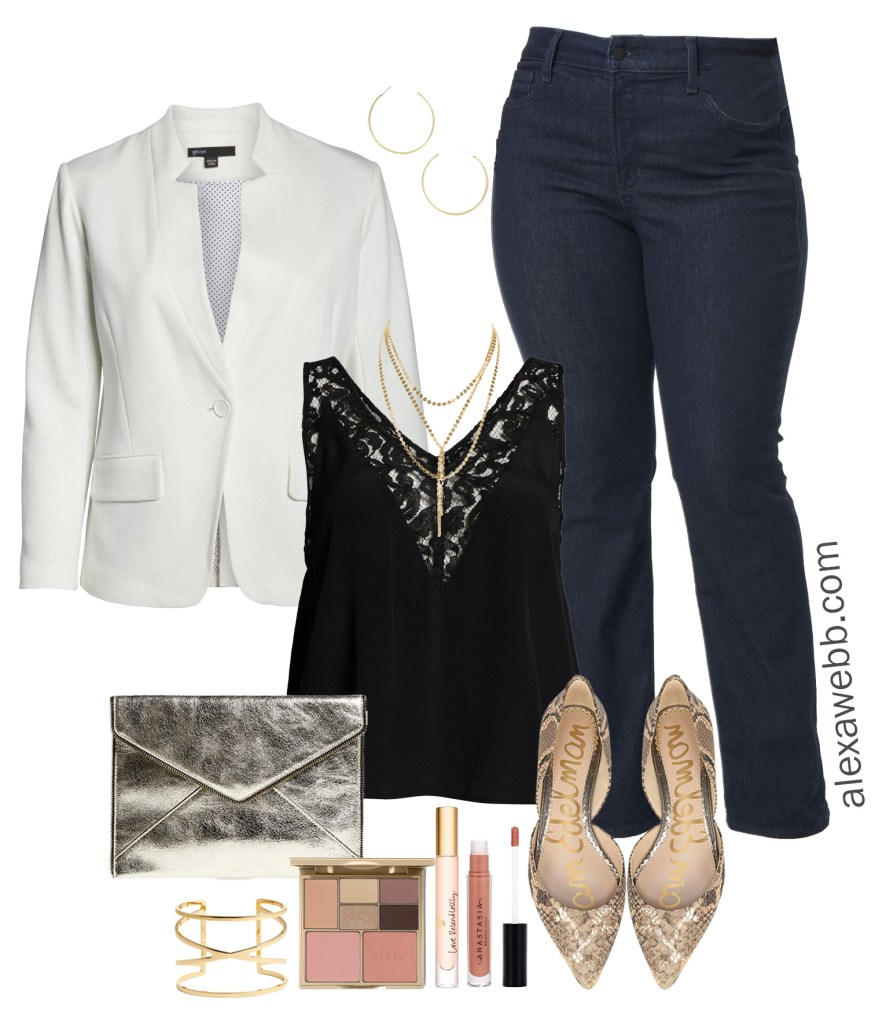 Plus Size Happy Hour Outfit Idea - White Blazer, Black Lace Cami, Dark Wash Bootcut Jeans, Snake Print Flats, Gold Clutch - Plus Size Fashion for Women - alexawebb.com #plussize #alexawebb Alexa Webb