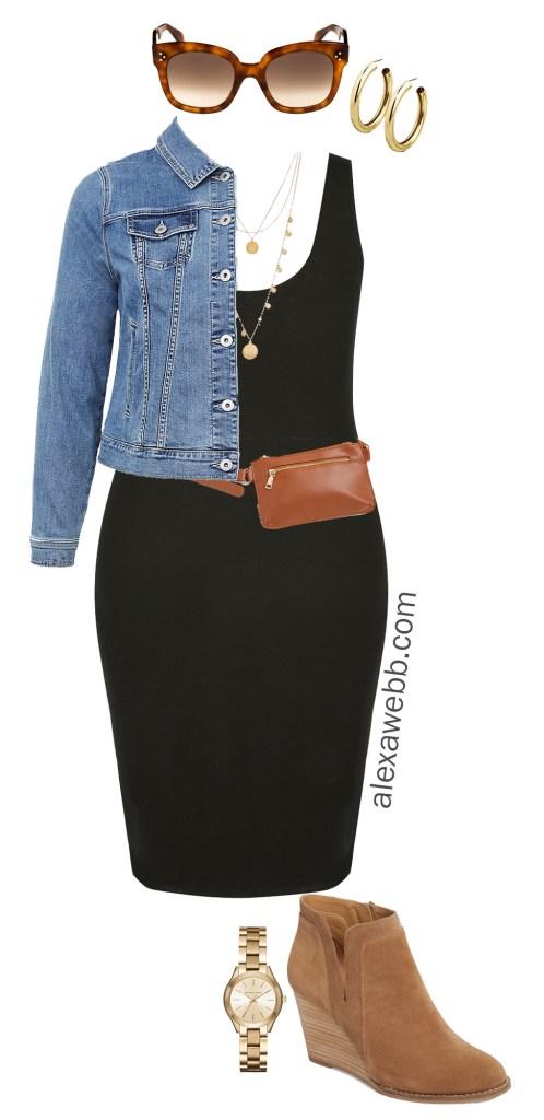 Plus Size Black Bodycon Dress Outfit Ideas - Denim Jacket, Plus Size Belt Bag, Coin Necklace, Ankle Booties - alexawebb.com #plussize #alexawebb Alexa Webb