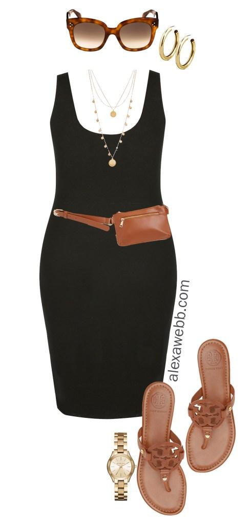 Plus Size Black Bodycon Dress Outfit Ideas - Summer Outfit - Plus Size Belt Bag, Coin Necklace, Sandals - alexawebb.com #plussize #alexawebb Alexa Webb
