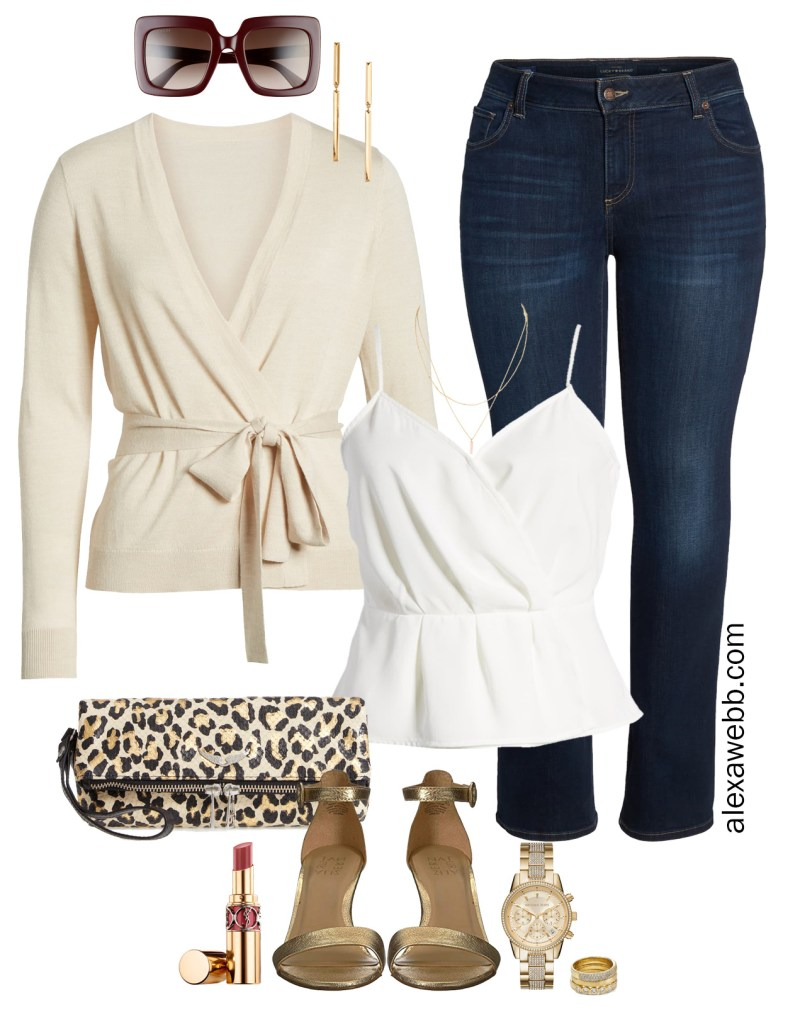Plus Size Date Night Outfit - Dark Bootcut Jeans, Beige Cardigan, White Cami Top, Leopard Clutch, Gold Sandals - Plus Size Fashion for Women - alexawebb.com #plussize #alexawebb