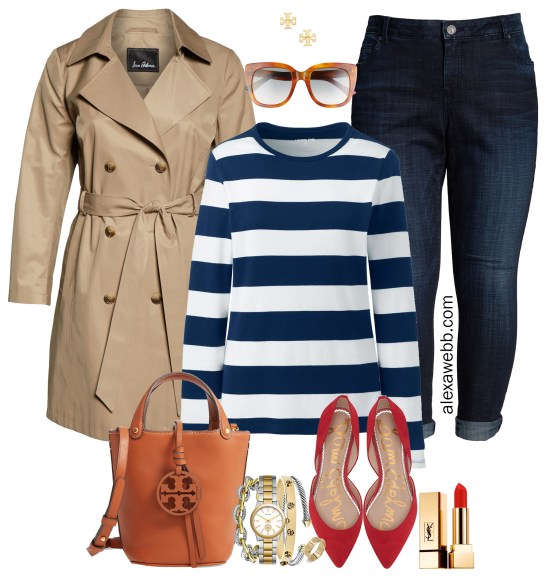 Plus Size Preppy Striped Top Outfit Ideas - Plus Size Tench Coat, Navy Striped T-Shirt, Boyfriend Jeans, Red Flats - Plus Size Fashion for Women for Fall - alexawebb.com #plussize #alexawebb