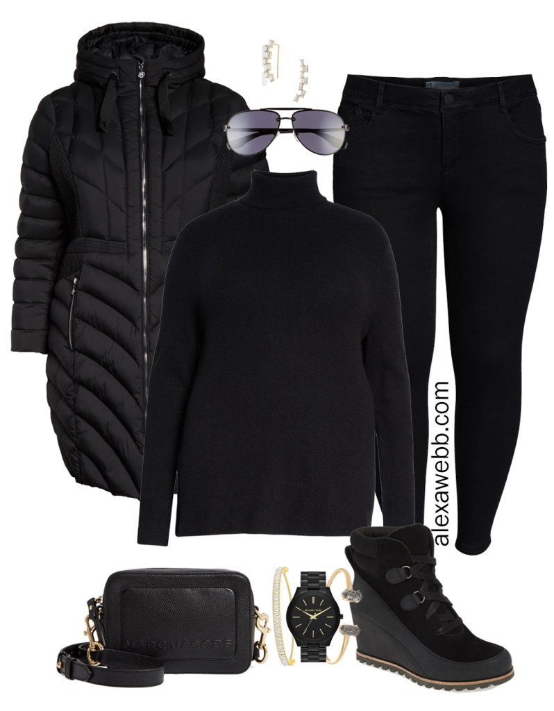 Plus Size Black Jeans Outfit - Plus Size Black Turtleneck, Plus Size Puffer Coat, Leggings, Booties, Crossbody Bag, Aviator Sunglasses - Plus Size Fashion for Women - alexawebb.com #plussize #alexawebb #NSale