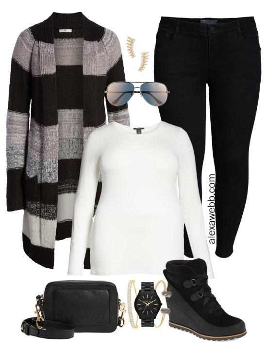 Plus Size Black Jeans Outfit - Plus Size Striped Cardigan, T-Shirt, Jeans, Booties, Crossbody Bag, Aviator Sunglasses - Plus Size Fashion for Women - Alexa Webb
