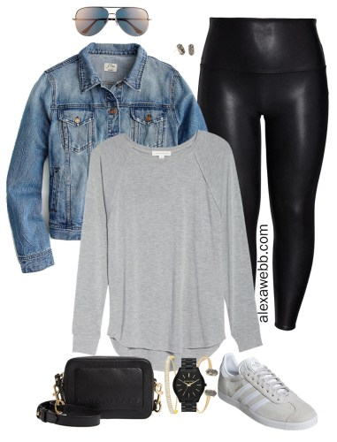 Plus Size Faux Leather Leggings Outfits - Plus Size Denim Jacket, Plus Size T-Shirt, Leggings, Adidas Sneakers, Crossbody Bag, Aviator Sunglasses - Plus Size Fashion for Women - alexawebb.com #plussize #alexawebb #NSale
