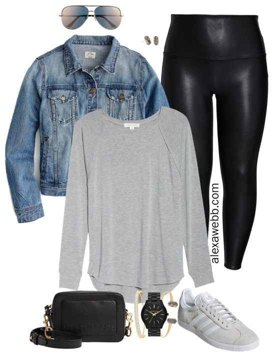 Plus Size Faux Leather Leggings Outfits - Plus Size Denim Jacket, Plus Size T-Shirt, Leggings, Adidas Sneakers, Crossbody Bag, Aviator Sunglasses - Plus Size Fashion for Women - alexawebb.com #plussize #alexawebb #NSale