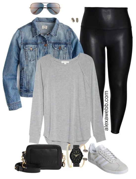 Plus Size Faux Leather Leggings Outfits - Plus Size Denim Jacket, Plus Size T-Shirt, Leggings, Adidas Sneakers, Crossbody Bag, Aviator Sunglasses - Plus Size Fashion for Women - Alexa Webb