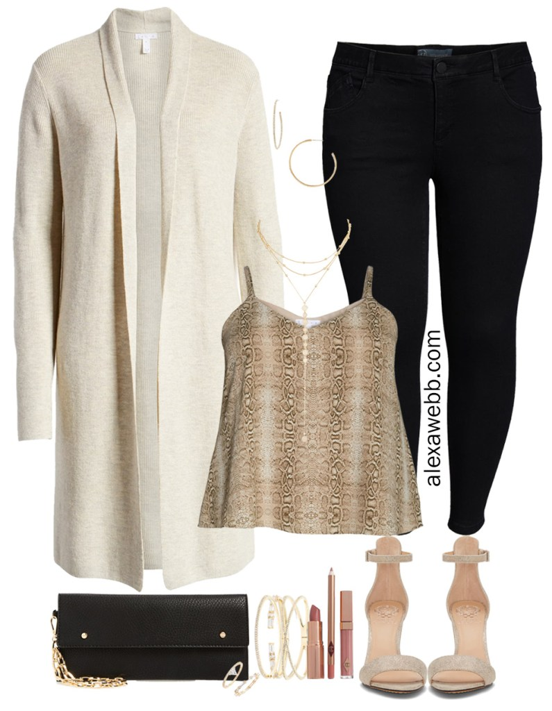 Nordstrom Anniversary Sale 2019 - Plus Size Day to Night Outfits - Plus Size Off White Cardigan, Snakeskin Cami, Black Skinny Jeans, Gold Sandals - Plus Size Date Night Outfit - alexawebb.com #plussize #alexawebb