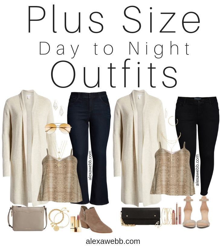 Nordstrom Anniversary Sale 2019 - Plus Size Day to Night Outfits - Plus Size Off White Cardigan, Snakeskin Cami, Jeans - Plus Size Date Night Outfit - alexawebb.com #plussize #alexawebb