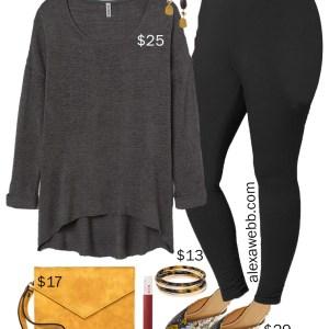 Plus Size on a Budget – Stylish Comfort - Plus Size Black Leggings, Grey Sweater, Snake Mules in Wide Width - Fall Outfit Idea - alexawebb.com #plussize #alexawebb