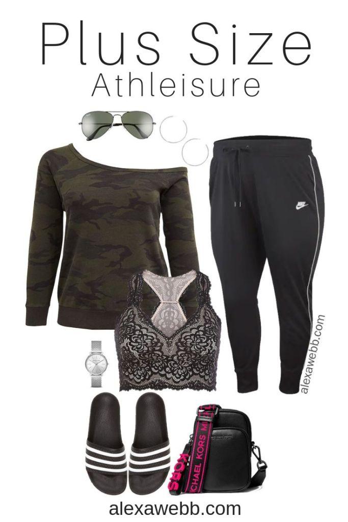 Plus Size Sexy Athleisure Outfit - Plus Size Camo Off-the-Shoulder Sweatshirt, Bralette, Joggers, Slides - alexawebb.com #plussize #alexawebb