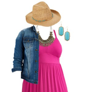 Plus Size Casual Summer Dress - Denim Jacket, Sandals in Wide Width, Cowboy Hat, Boho Jewelry - Plus Size Fashion for Women - alexawebb.com #plussize #alexawebb
