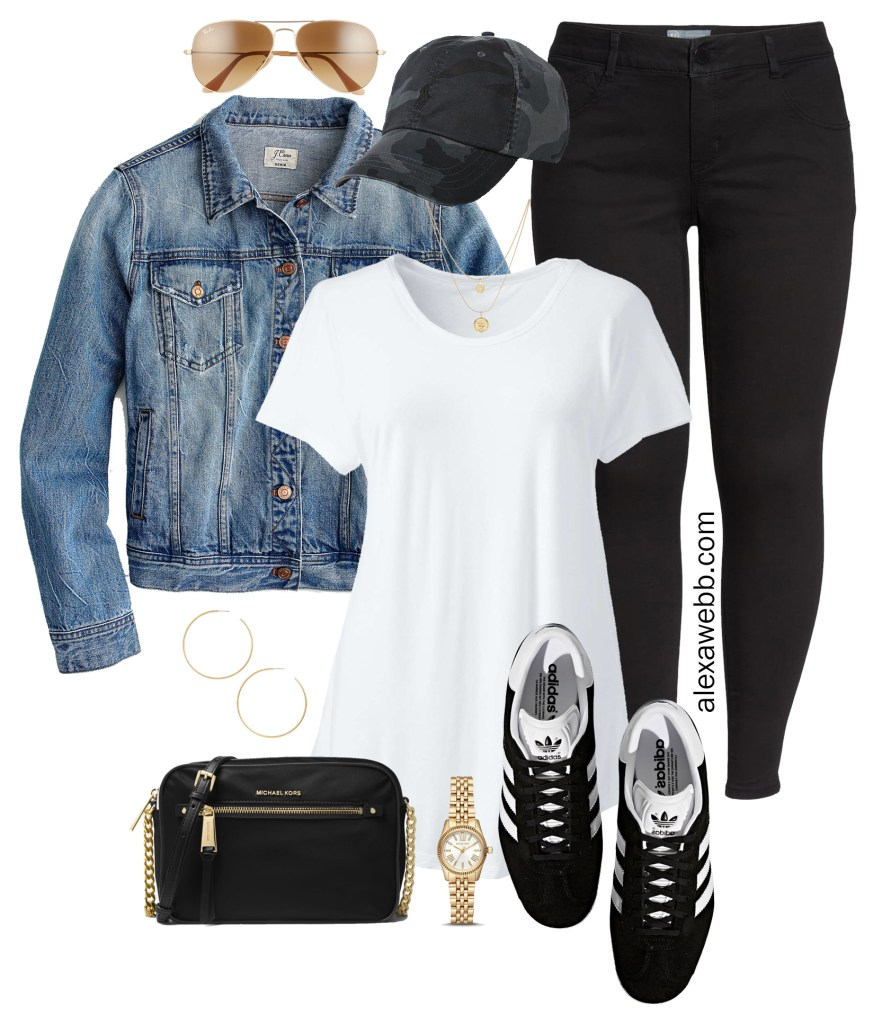 Plus Size Black Jeans Outfits - Denim Jacket, T-Shirt, Crossbody Bag, Adidas Sneakers, Aviator Sunglasses - Plus Size Fashion for Women - alexawebb.com #plussize #alexawebb
