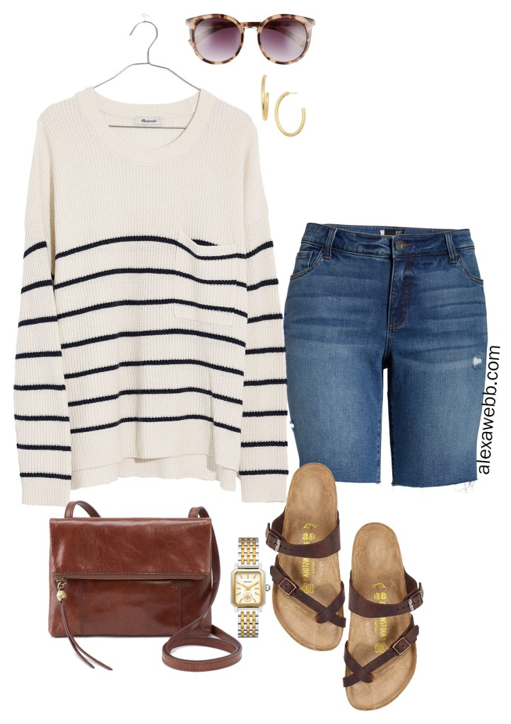 Plus Size Madewell Striped Sweater, Denim Bermuda Shorts, Birkenstock Sandals - Summer Outfit Idea - alexawebb.com #plussize #alexawebb
